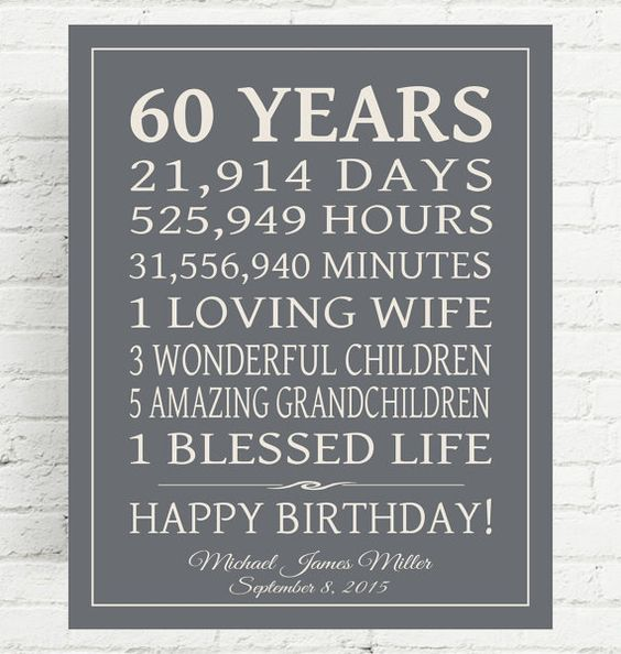 40th 50th 60th Birthday Gifts For Husband Dad Grandad: 60th BIRTHDAY GIFT Sign Dad Birthday Gift Mom By