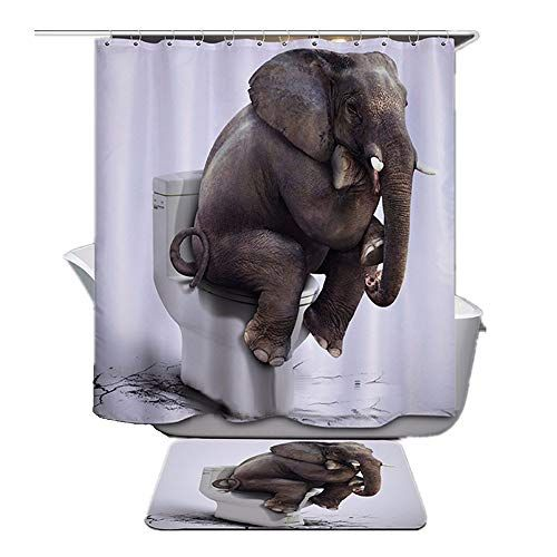 Enjohos White Thinking Elephant Shower Curtain In 2020 Elephant
