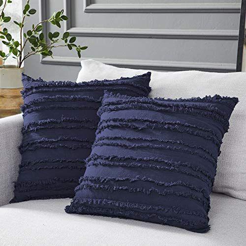 Navy Blue Linen Pillow Cover Decorative