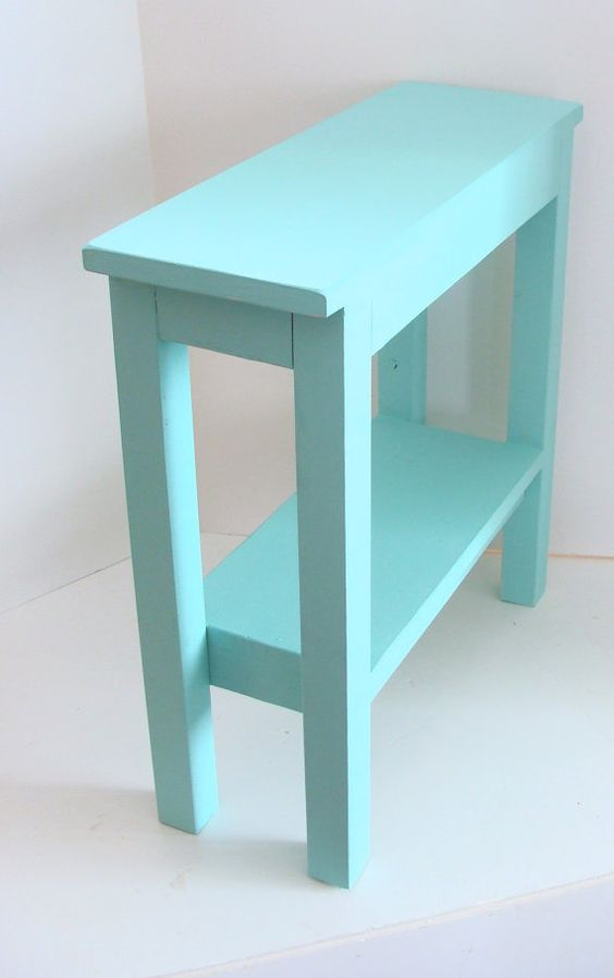 Narrow side table aqua blue and beach cottage decor on for Long narrow side table