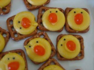 Pretzel-choclate Chicks w/orange jelly bean nose