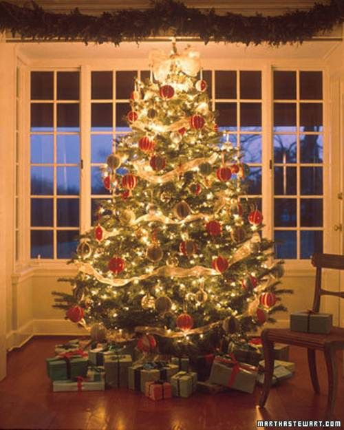 Arboles de navidad decorados en rojo y dorado tips - Decoracion arbol navidad ...