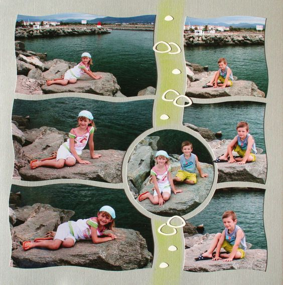 waves using about 6-7 photos that are cute and layed out for scrapbook page with beach or water theme