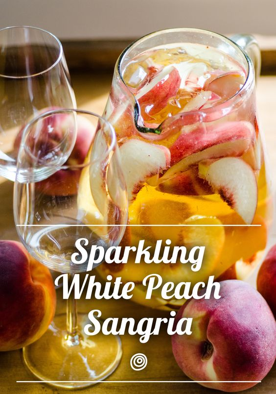 White peach sangria, Peach sangria and Pitcher drinks on Pinterest