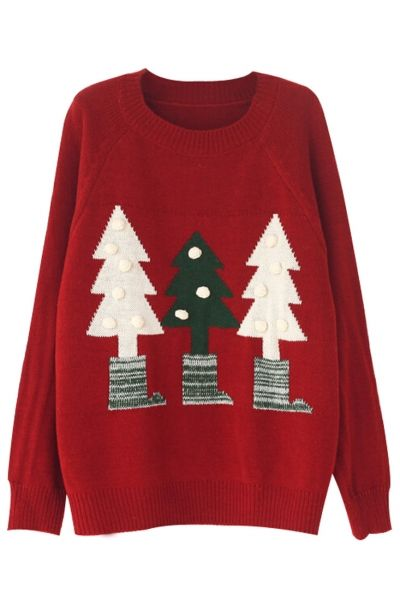 Chic Christmas-Inspired Tree Print Sweater - GLAMOURIZE