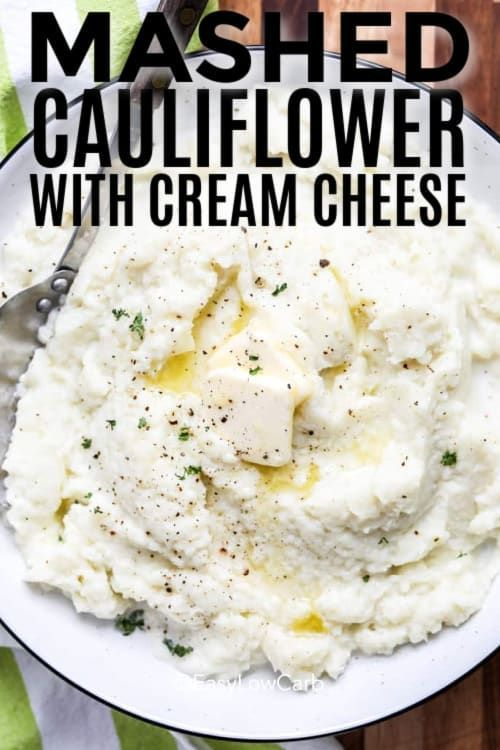 Mashed Cauliflower With Cream Cheese Low Carb Side Easy Low Carb Recipe In 2020 Mashed Cauliflower Low Carb Vegetarian Recipes Keto Mashed Cauliflower