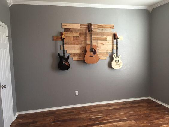 Diy Pallet Wood Hanging Guitar Display Weekend Project