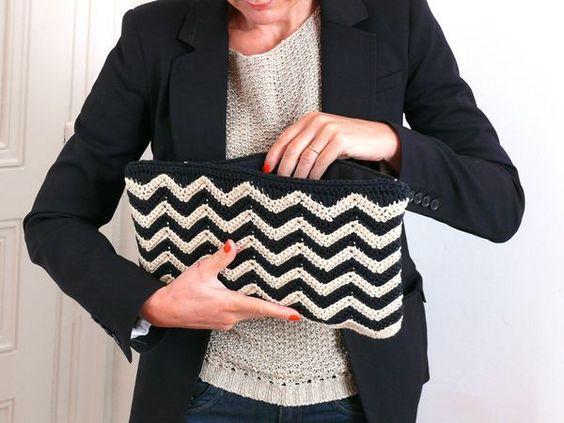 Tutorial crochet chevron purse in french