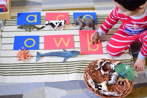 Using sandpaper letters with our Schleich Animal Toys