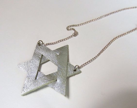 star necklace, leather necklace silver star of David