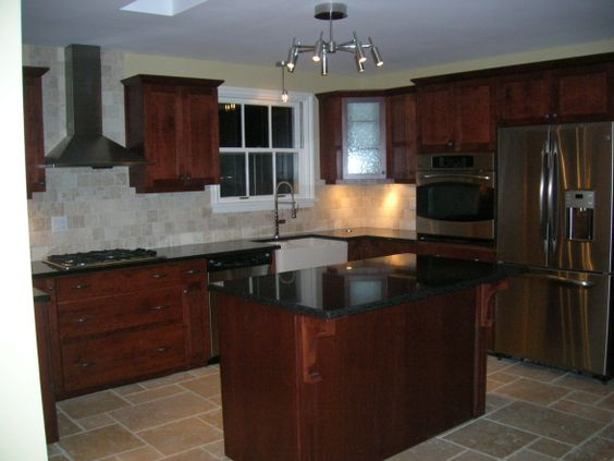 Best New Kitchen Cherry Cabinets Black Granite Counters 400 x 300
