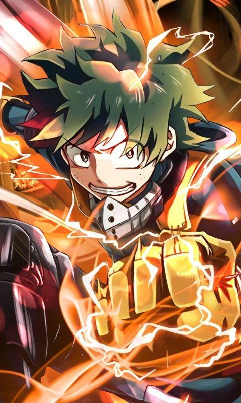 Anime Izuku Midoriya Fire Power Art 480x800 Wallpaper My Hero Academia Episodes My Hero Anime
