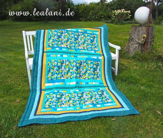 Quilts Patchwork Quilt Decke Retro Flowers In Turkis Petrol