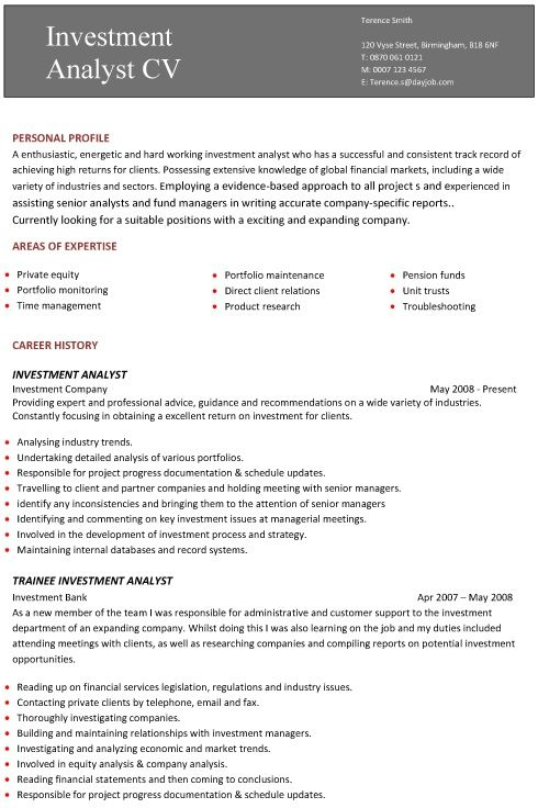 A professional two page investment analyst CV example al my - documentation analyst sample resume