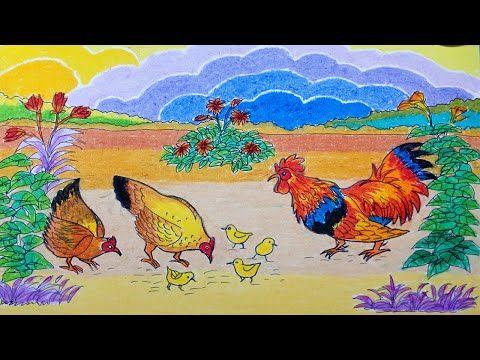 Cara Menggambar Ayam Jago Ayam Betina Anak Ayam Dan Pemandangan Dengan C Ayam Betina Cara Menggambar Gambar