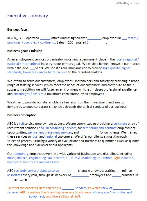 Free staffing agency business plan computing coursework a level