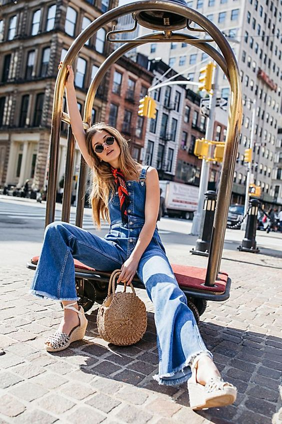 Boho Chic meets Street Style with these Retro-inspired overalls, featuring a  flared leg silhouette. From Free People, of course! Authentic stretch denim; Button closures down the front; Adjustable straps; Pocket detail on the bib. Raw hem Alvin Flared Overalls from Free People – Today's Fashion Item. #BohoChic