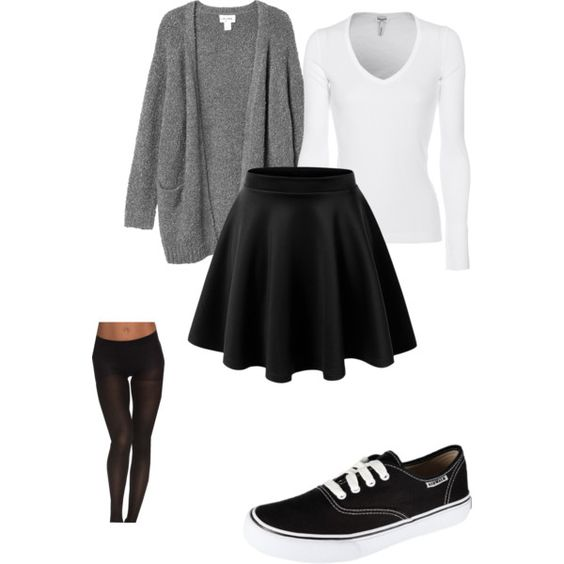 grey cardigan, white top, black skater skirt, black tights, black shoes