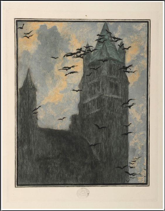 """Lucien Lévy-Dhurmer (1865-1953), Illustration pour """"Bruges La Morte"""" de Georges Rodenbach."""