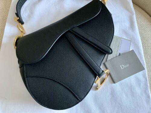 Christian Dior Saddle Bag Black Grained Calfskin Leather 2018 Model Dior Saddle Bag Leather Saddle Bags Saddle Bags