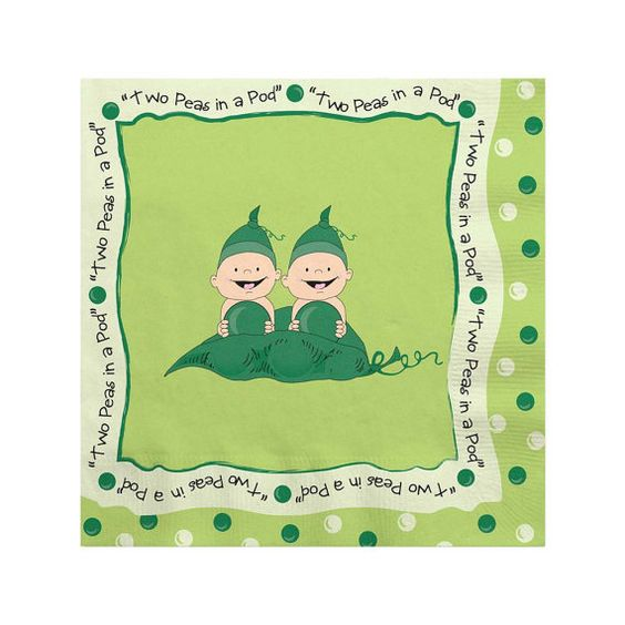 16 Count  Two Peas in a Pod Beverage Napkin  by BigDotOfHappiness