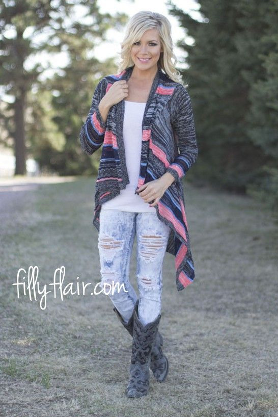 """Bonfire Nights Cardigan - Adorable soft knit long sleeve cardigan in black with stripe designs is a must have for your wardrobe!  Length in Small/Medium 38"""" Length in Medium/Large 39""""  Bust in Small/Medium 40"""" Bust in Medium/Large 42""""  Waist in Small/Medium 36"""" Waist in Medium/Large 38""""  55% Ramie 45% Cotton Hand Wash Cold Model is 5'5"""" a size 4 in a small/medium. Small 0/4, Medium 6/8, Large 10/12"""