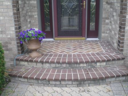 Stone and brick front porch steps these after pictures - Brick porch steps designs ...