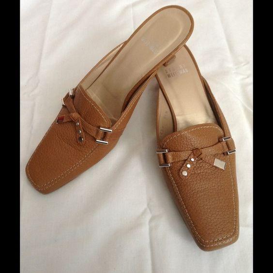 """STUART WEITZMAN  kitten heels/loafers size 5.5 Stuart WEITZMAN brown kitten heels size 5.5. Insole measures 9.5"""". Heel measures 1.5"""". Excellent condition. I ship next business day. Stuart Weitzman Shoes Flats & Loafers"""