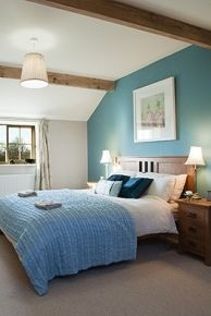 teal feature wall
