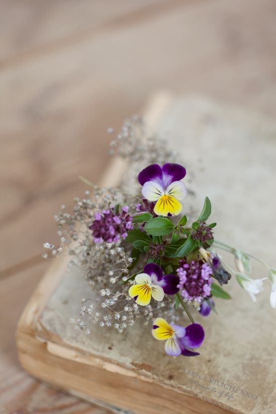 Johnny jump ups & baby's breath .. I loved looking at these when I was a little girl. They all have different faces. :)