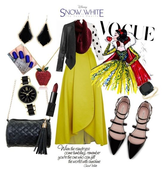"""Snow White"" by mckenzie-rae-sims on Polyvore featuring Pinko, Rumour London, Zara, Kendra Scott, Anne Klein, NARS Cosmetics, Disney, Belk & Co., Amanda Rose Collection and OPI"