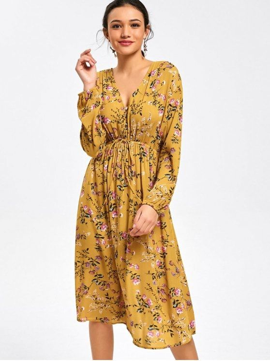 Vestido floral com manga comprida de manga comprida - Amarelo XL