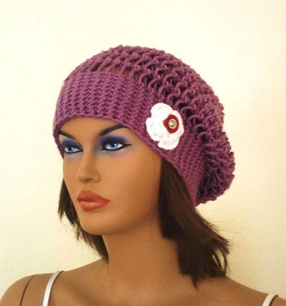 Knitting women beret hat with a white flower   by KnitterPrincess, $30.00