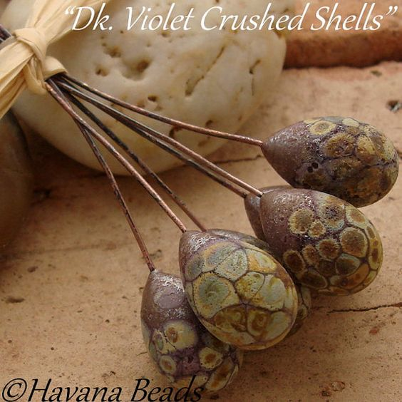 DK. VIOLET  Crushed Shells  - Handmade Lampwork Glass headpins by HavanaBeads.etsy.com
