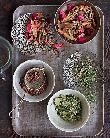 TEA PARTY - good blog on subject of tea...ex. Fennel-Mint Green Tea. Pomegranate seeds or a slice of citrus brighten green tea (and look gorgeous in the pot).