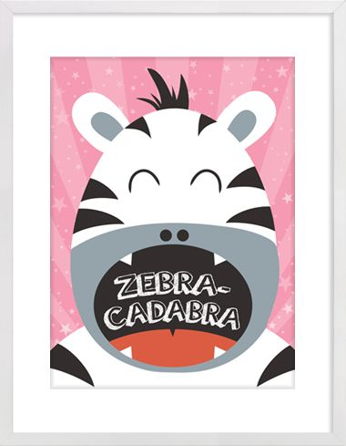 "Zebra ""Zebra-Cadabra"" Nursery Wall Print to brighten up your kid's room. Artwork prices start at $7.00. #nurserywallprints #zebra #zebracadabra"