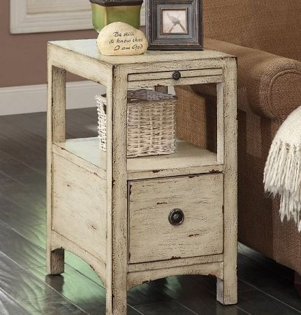 One drawer distressed white chair side chest / Squan Furniture