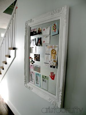 I have one of these!  I took a cord board, covered the cork with metal flashing, painted the frame, lightly sanded it to give it that worn-in look and now it's home to my kids school work!