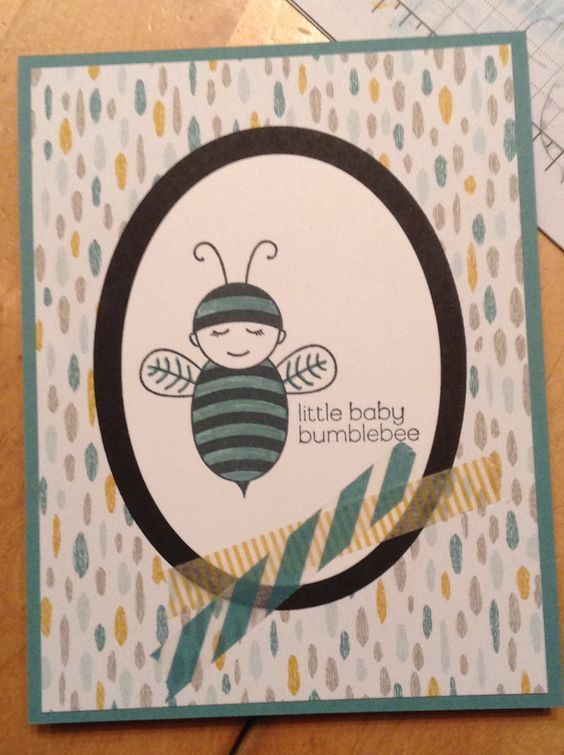 Baby Bumblebee stamp, Sweet Dreams designer series paper and washi tape.  For more information or to order supplies: www.stampinontherock.com