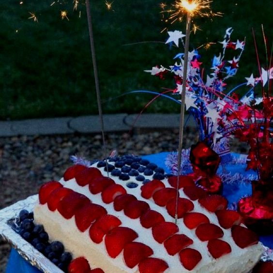 4th of July. Cake and Berries.