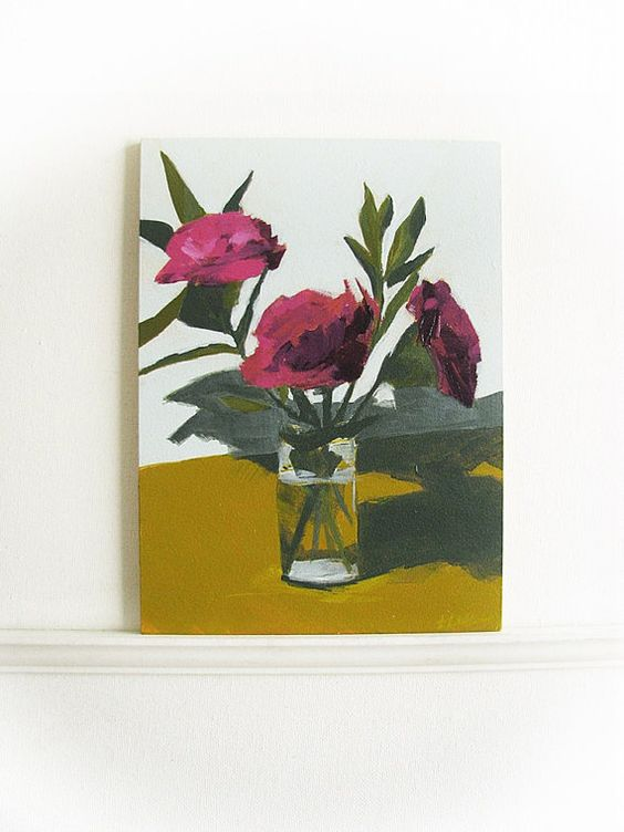 """still life painting """"January"""" flowers in a vase on Masonite panel"""