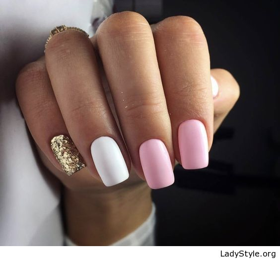 Pink, white and gold gel nails , LadyStyle