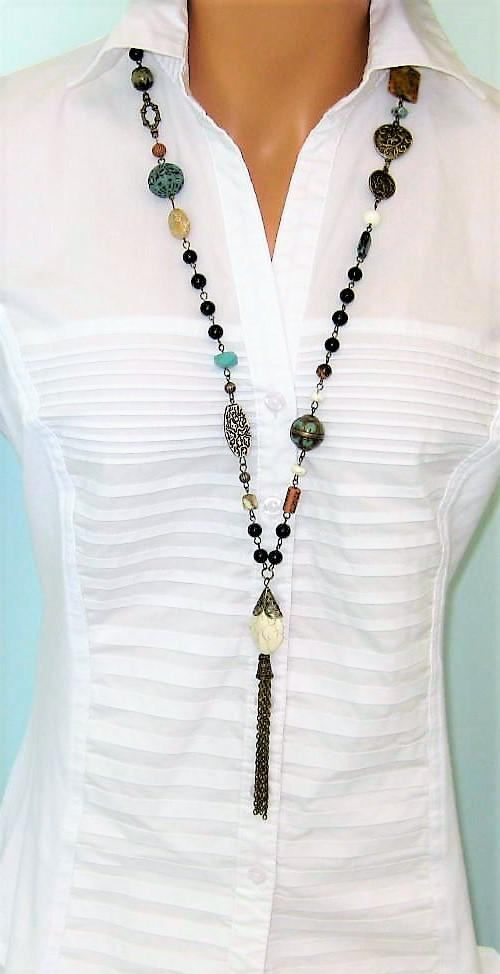 White and Gold Glass Beads Tassel Long Necklace  White Gold Tassel Long Necklace.