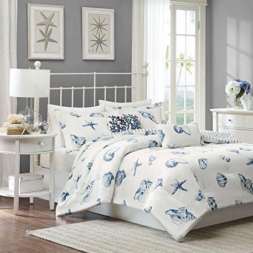4 Piece White Blue Beach Themed Comforter Full Set All Over Sea