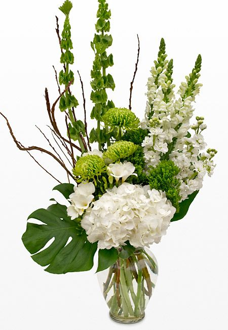 White and Light Green Flower Arrangement: