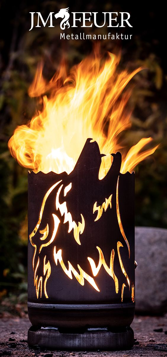 Kleine Feuertonne Wolf Hergestellt Aus Einer Gasflasche Jmfeuer Feuertonnen Feuer Tonne