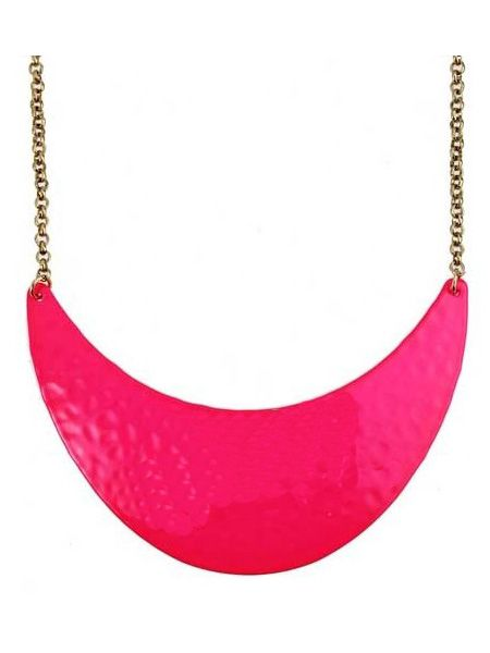 Neon Pink Dappled Metal Crescent Collar Necklace