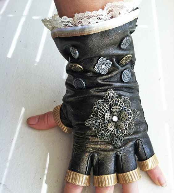 On hold until Nov 11th / Lacy Leather Steampunk Gloves by NBetween, $34.00