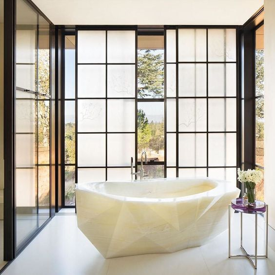 Gorgeous faceted tub carved from white onyx made in Italy  |  @LuxeMagazine by kevin.vaughan