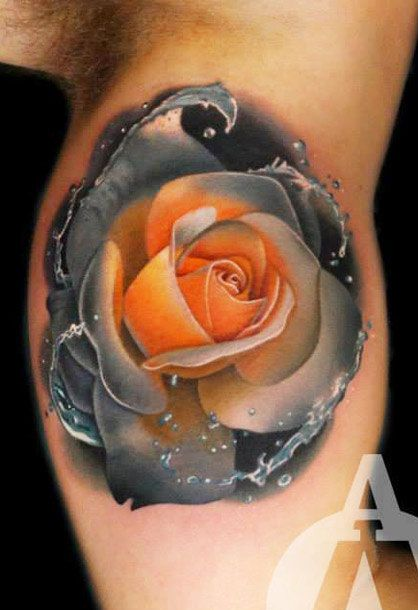 Realistic Flower Tattoo Designs: Realistic Flowers Tattoo By Andres Acosta
